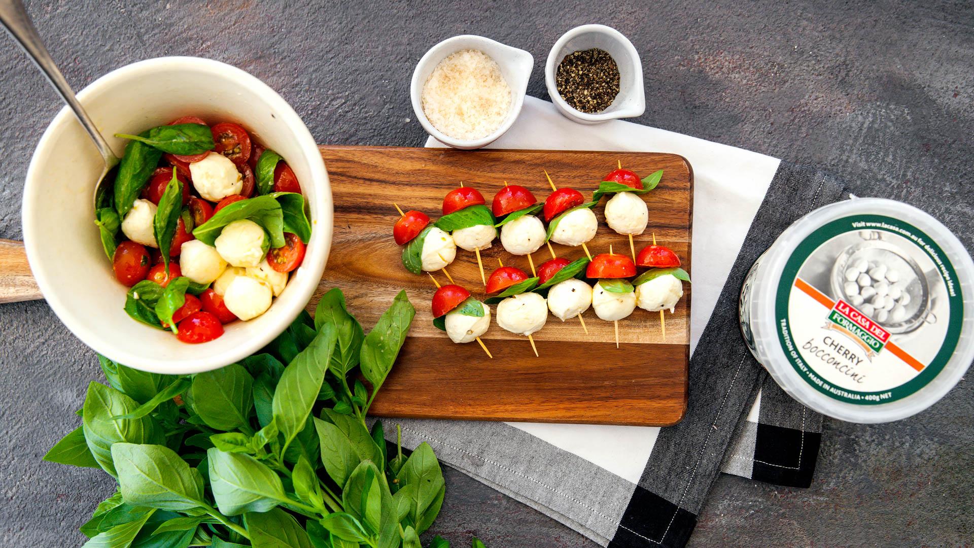 Tomato, Basil and Bocconcini Skewers — La Casa Del Formaggio