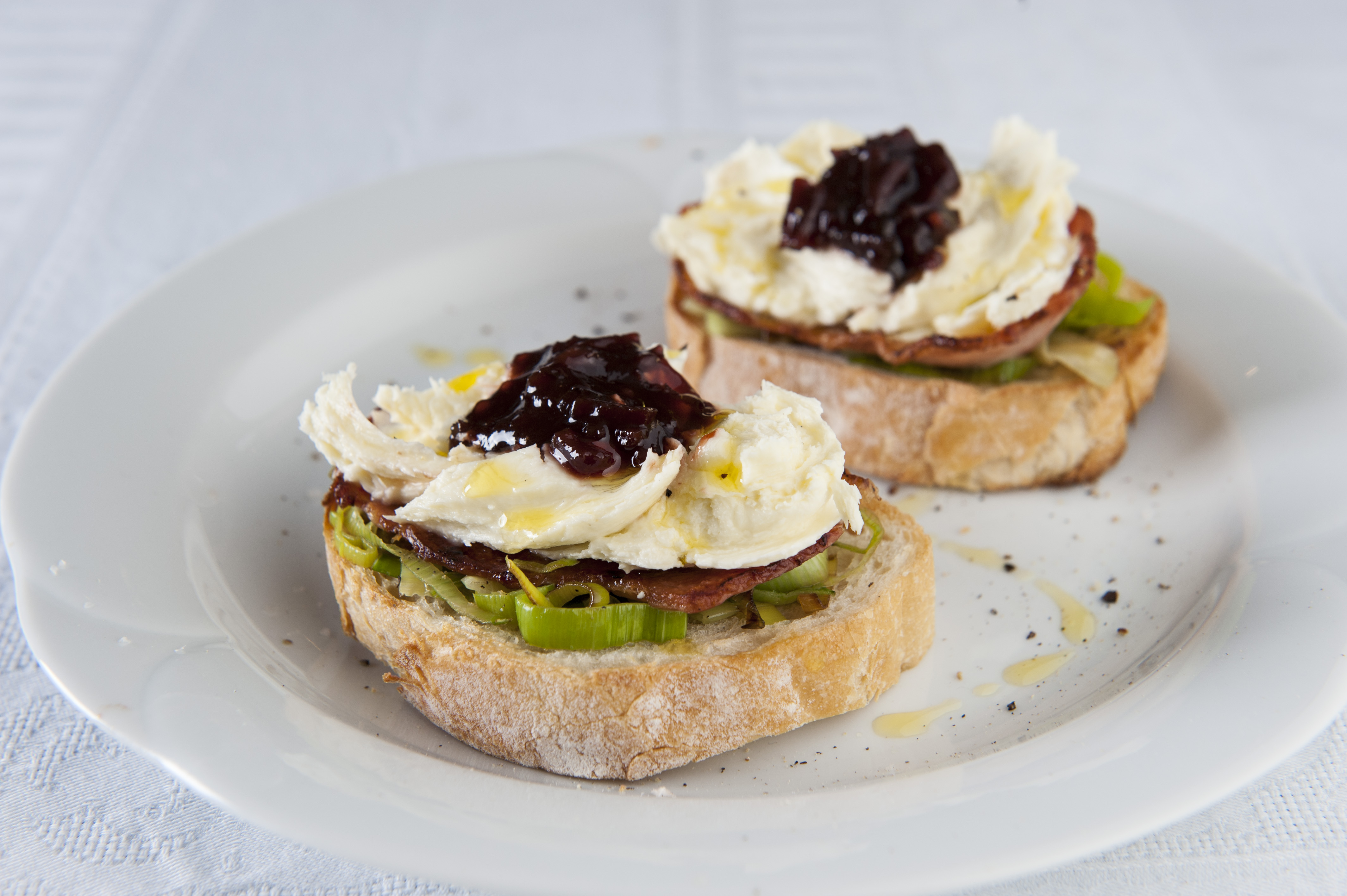 Bacon, Leek and Beetroot Bruschetta