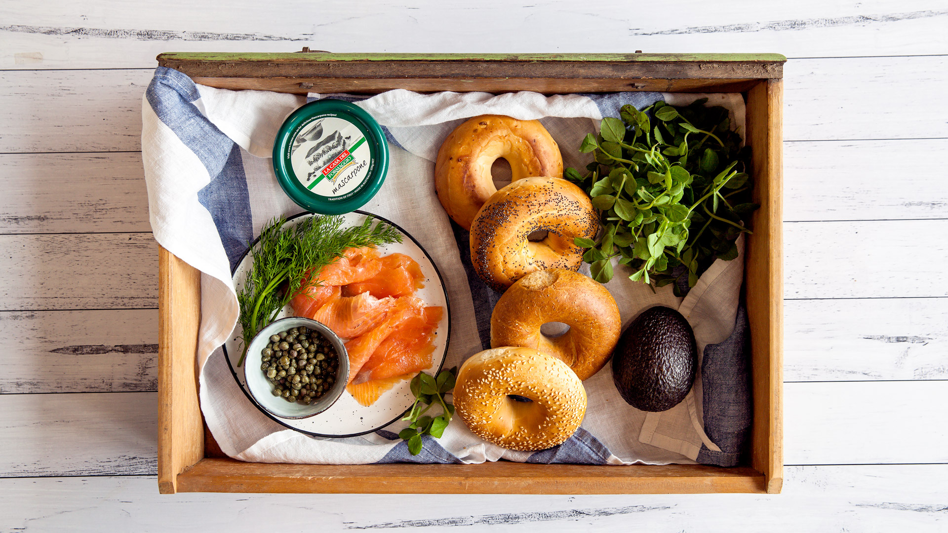 Smoked Salmon Mascarpone Bagel