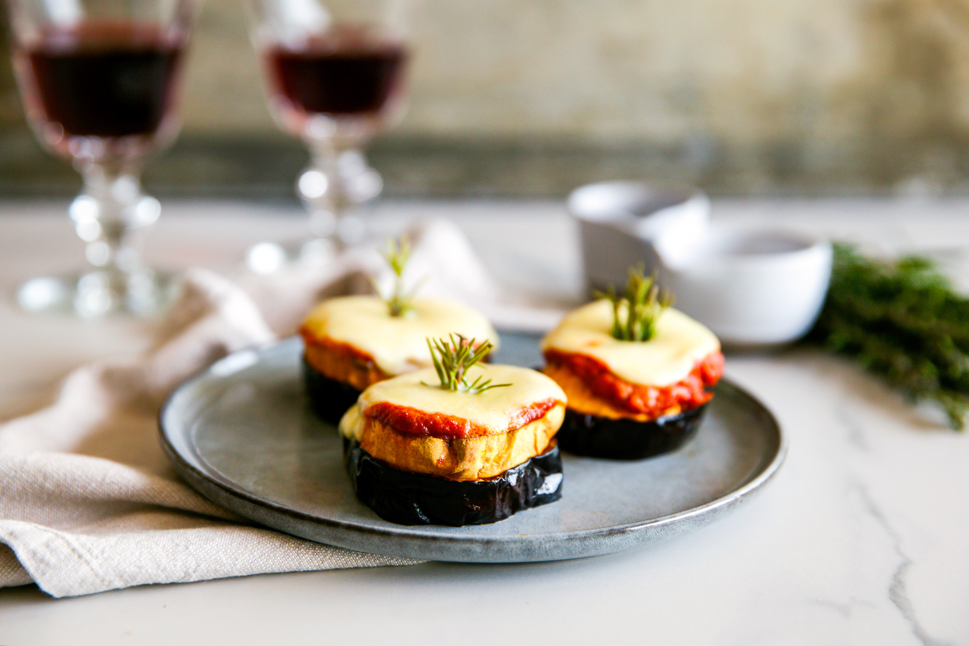 Fresh Mozzarella Eggplant Stack